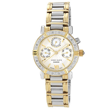 AK by Anne Klein Women's Diamond Accented Multi-Function Two-Tone Watch
