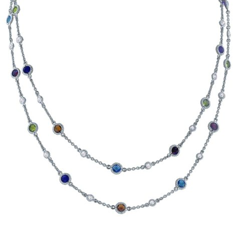 Gem RoManse Multi-Gemstone Necklace in Sterling Silver