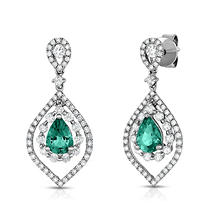 Pear Shaped Emerald Earrings with Diamonds in 18K White Gold