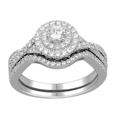 075 CT TW DoubleHalo Engagement Rings Set in 14k White Gold