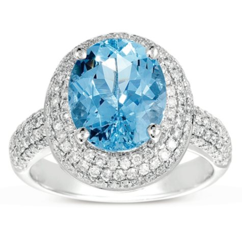 Oval-Cut Aquamarine Ring with Diamonds in 14K White Gold (I, I1)