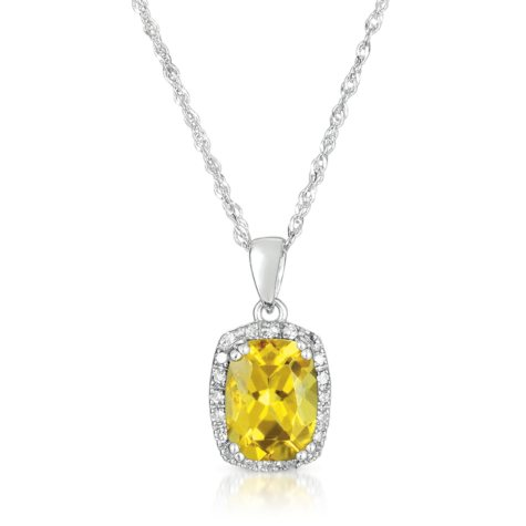 Cushion-Cut Yellow Beryl Pendant with Diamonds in 14K White Gold (I, I1)