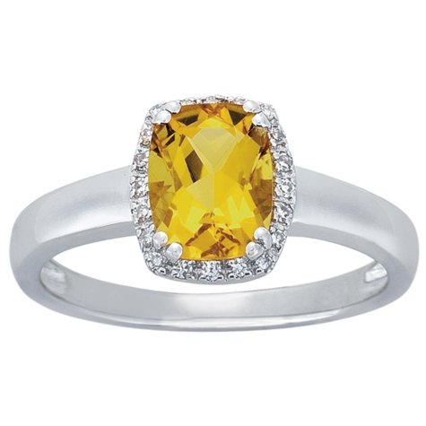 Cushion Cut Yellow Beryl Ring with Diamonds in 14K White Gold