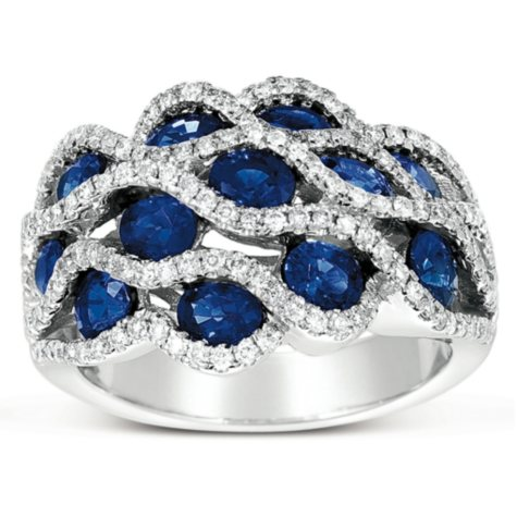 Oval-Cut Sapphire Ring with Diamonds in 18K White Gold (I, I1)