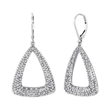 0.75 CT. T.W. Diamond Triangle Earrings in Sterling Silver (H-I, I1)