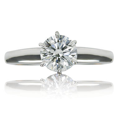 1.15 CT. T.W. Round Brilliant Cut Diamond Solitaire Engagement Ring in 14k White Gold (I, VS2) IGI