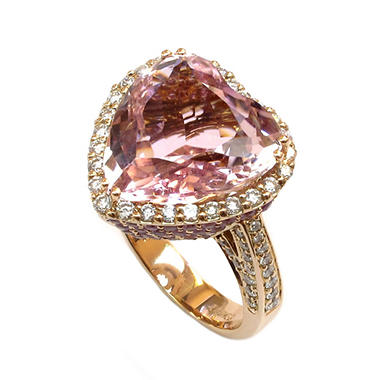 12.30 CT. Heart-Shaped Kunzite, Violet Sapphire & Diamond Ring in 18K Rose Gold (G-H, SI1-SI2)