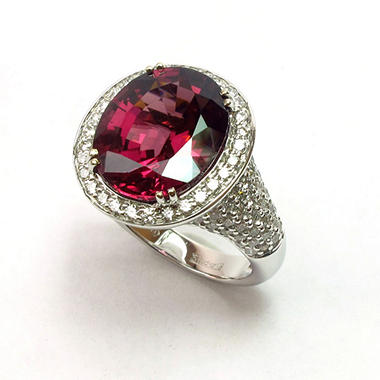 8.09 CT. Oval-Cut Rhodolite & Diamond Ring in 18K White Gold (G, VS1-VS2)