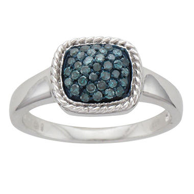 0.25 ct. t.w. Treated Blue Diamond Ring in Sterling Silver