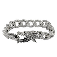 Robert Manse Dragon Bracelet in Sterling Silver with Black Diamond Accent
