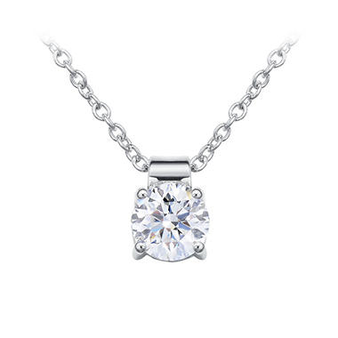 .90 CT. Round Brilliant Lab-Grown Diamond Solitaire Pendant in 18K White Gold (G,VS1)