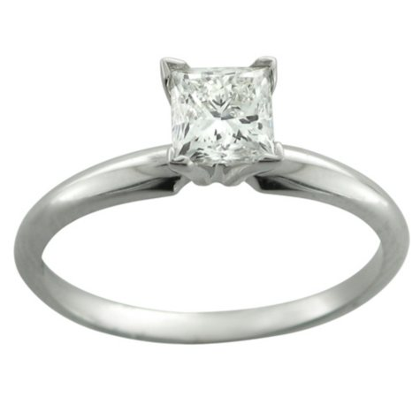 0.25 ct. Princess Diamond in 14k White Gold Solitaire Ring  (H-I, I1)
