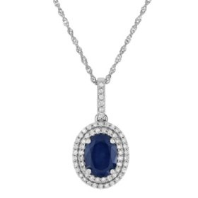 Oval-Shaped Sapphire Pendant with Diamonds in 14K White Gold