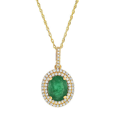 Oval-Shaped Emerald Pendant with Diamonds in 14K Yellow Gold
