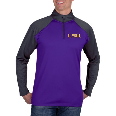 LSU Tigers, NCAA Men's Athletic Quarter-Zip Fitness Jacket