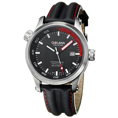 Golana Swiss Men's Aqua Pro 100 Stainless Steel and Leather Quartz Date Watch