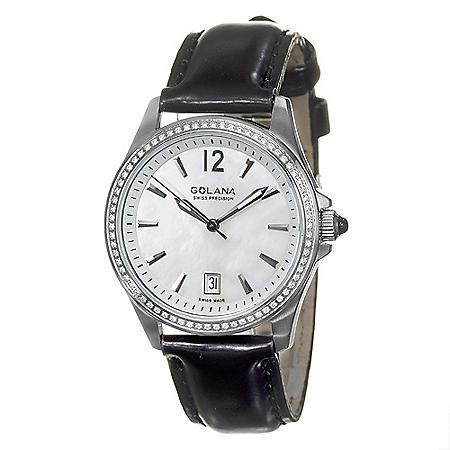Golana Swiss Women's Aura Pro 100 Stainless Steel and Leather Quartz Diamond Date Watch