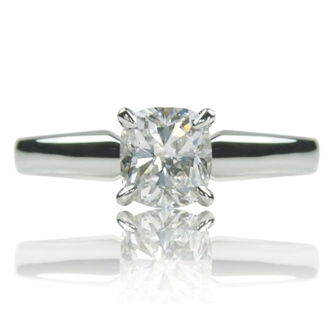 1.01 ct. Cushion Cut Diamond 14K White Gold Solitaire Ring (F, VS1)