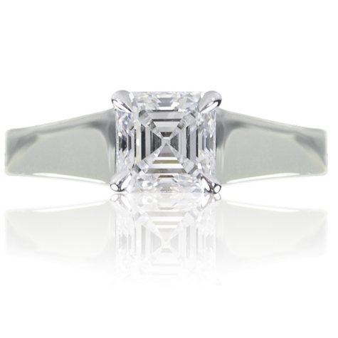 0.96 ct. Asscher Cut Diamond 14K White Gold Solitaire Ring (G, SI1)