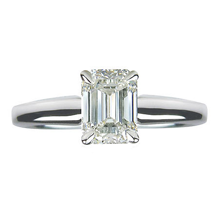 1.00 ct. Emerald Cut Diamond 14k White Gold Solitaire Ring (G,VVS1)