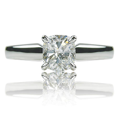 1.00 ct. Cushion Cut Diamond 14K White Gold Solitaire Ring (G, SI1)