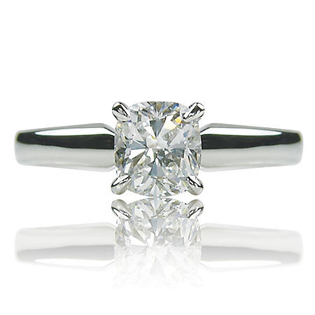 0.91 ct. Brilliant Cushion Cut Diamond 14K White Gold Solitaire Ring (I, VS2)