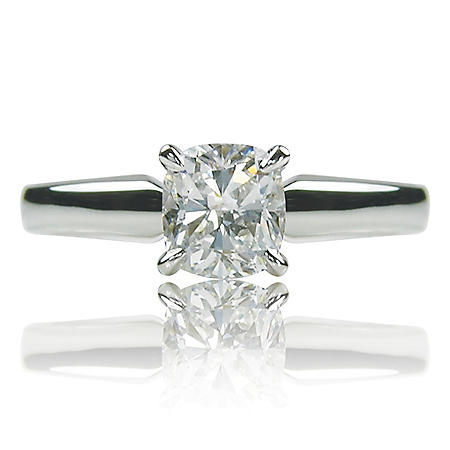 0.90 ct. Brilliant Cushion Cut Diamond 14K White Gold Solitaire Ring (I, SI1)