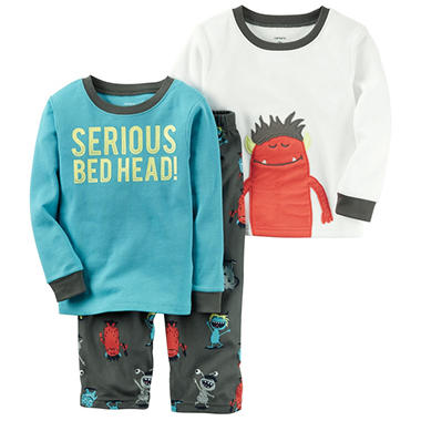Carter's Boy's 3 Piece PJ Set - Bedhead Monster