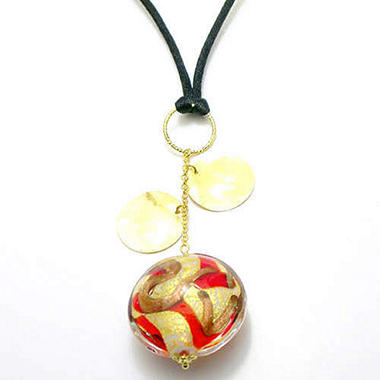 Red Murano & Yellow Gold Disc Pendant Necklace