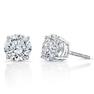1 5 Ct T W Diamond Stud Earrings In 14k White Gold H I Si2