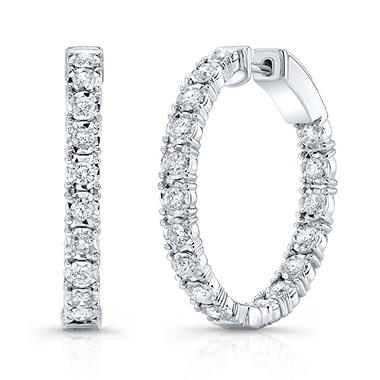 1 CT. T.W. Round Hoop Earrings in 14K White Gold