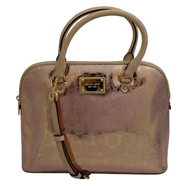 Cindy Dome Signature Leather Satchel Handbag by Michael Kors