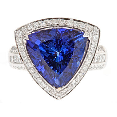 D'Yach Tanzanite and Diamond Ring in 18k White Gold