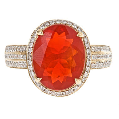 Color Jewels Fire Opal and Diamond Ring in 14k White Gold