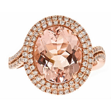 Color Jewels 4.24 CT. Morganite and Diamond Fashion Ring in 14K Rose Gold