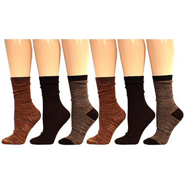 Legale Ladies Soft Casual Crew Socks, Various Colors (6 pairs)