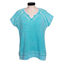 Green Tea Mineral Wash Oversize Lounge Top with Back Zipper