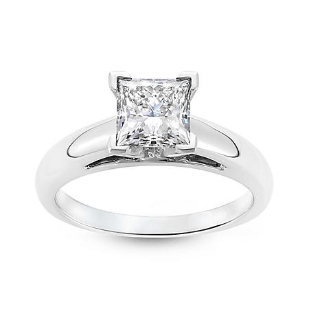 1.54 ct. Princess Cut Lab-Grown Diamond Solitaire Engagement Ring in 18K White Gold (I, VS1)