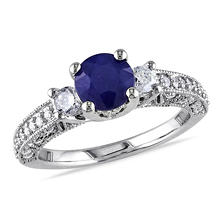 1.6 ct. t.w. Diamond and Diffused Sapphire Engagement Ring in 14K White Gold