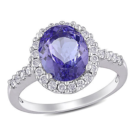 Allura 2.90 CT. T.W. Diamond and Tanzanite Engagement Ring in 14K White Gold