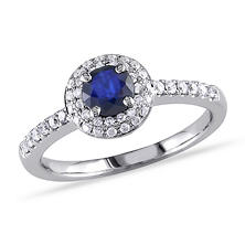 1.25 ct. t.w. Diamond and Diffused Sapphire Engagement Ring in 14K White Gold