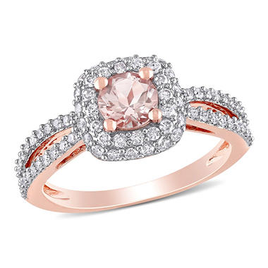 1.00 CT. T.W. Diamond and Morganite Engagement Ring in 14K Rose Gold