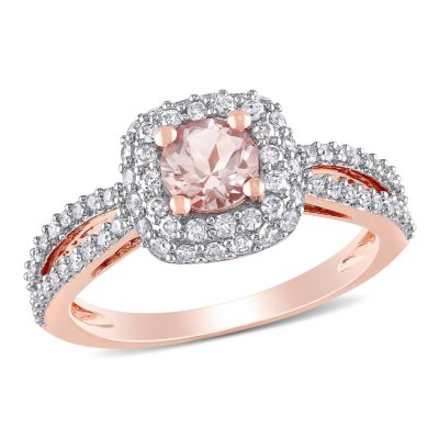 100 ct tw Diamond and Morganite Engagement Ring in 14K Rose