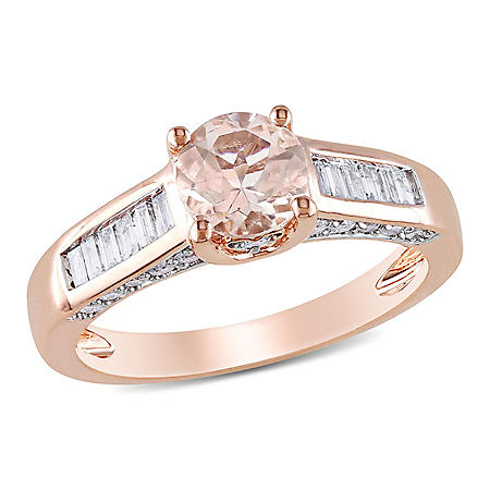 1.30 CT. T.W. Diamond and Morganite Engagement Ring in 14K Rose Gold