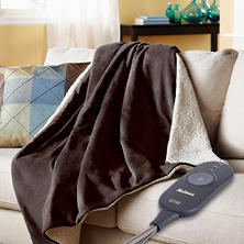 Holmes Oversized Velvet Plush and Sherpa Heated Throw