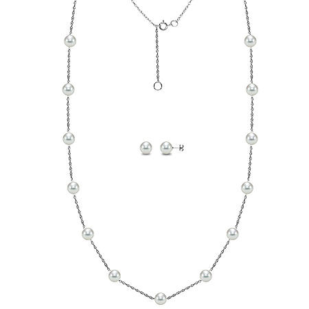 Akoya Cultured Pearl Station Necklace and Earring Set