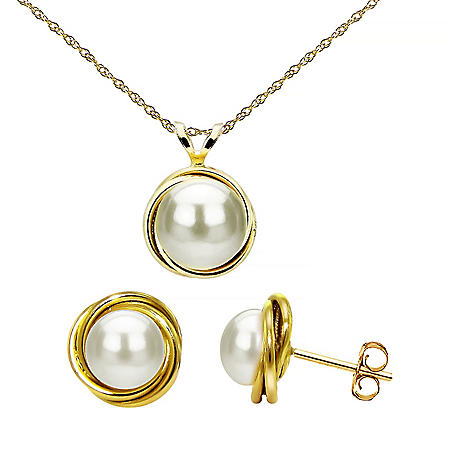 Freshwater Pearl Love Knot Pendant and Earring Set