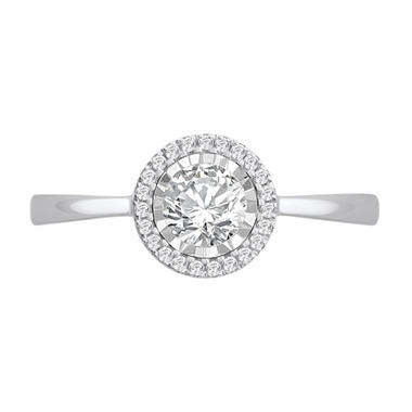 OFFLINE0.50 CT. T.W. Diamond Halo Ring in 14K White Gold
