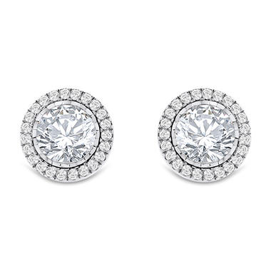 T W Diamond Halo Earrings In 14k Gold