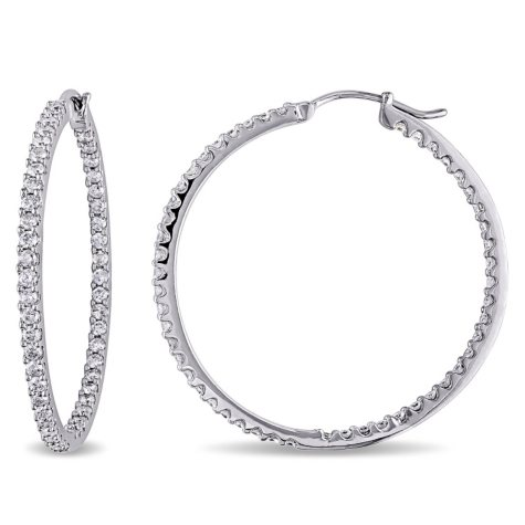 Allura 2 ct. t.w. Diamond Inside Outside Hoop Earrings in 14K White Gold